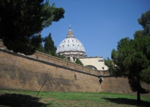 St. Peter's dome from outside the Vatican City