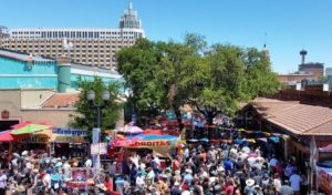 An overhead view of the crowds at Fiesta de los Reyes, 2017